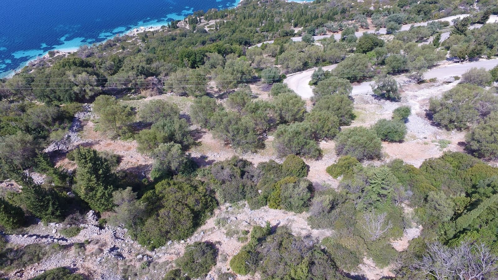 Aerial view and border of land for sale Ithaca Greece, Ag Ioannis