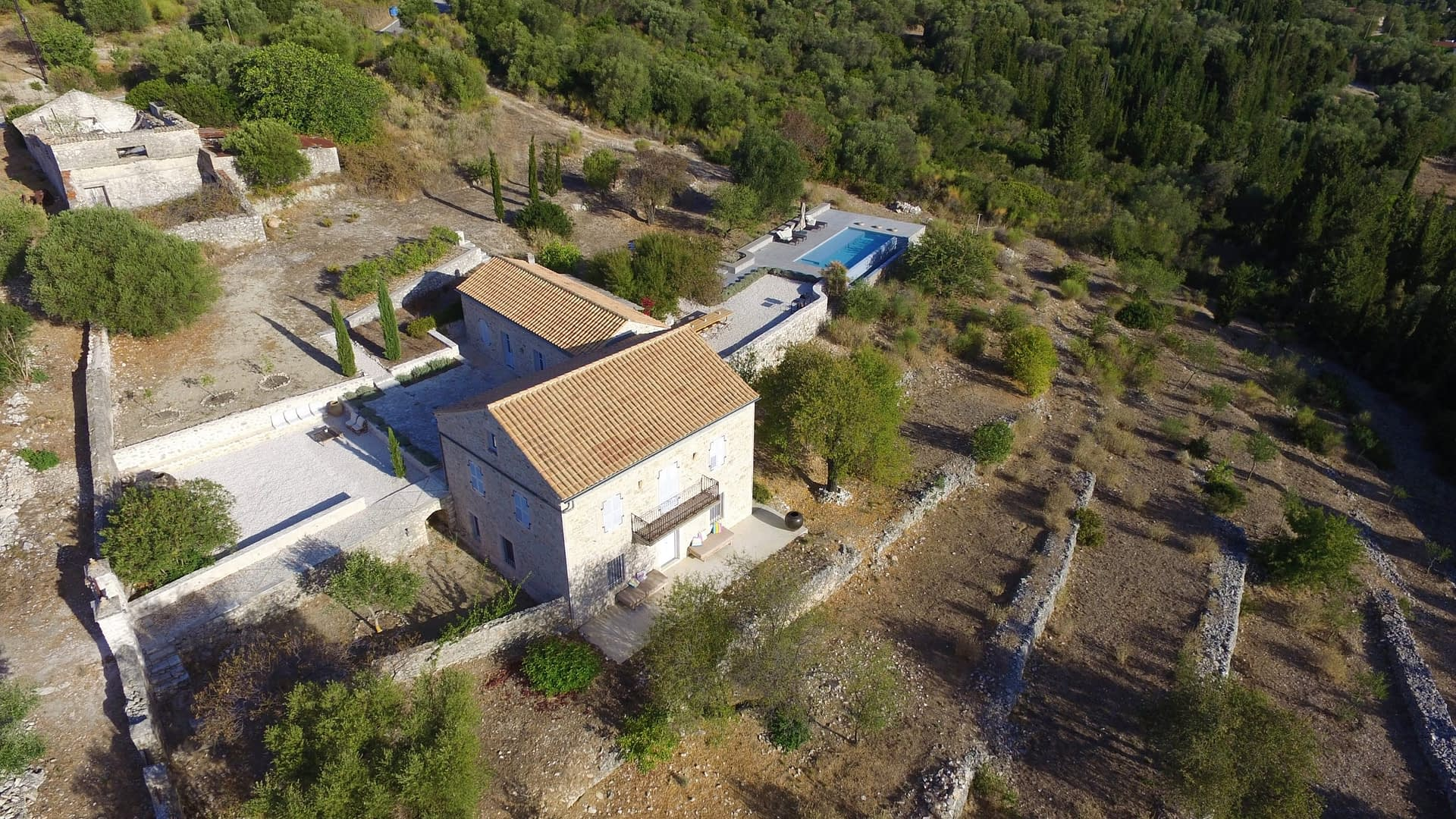 Aerial view of stone built Villa Kalos for rent, Ithaca Greece Lahos