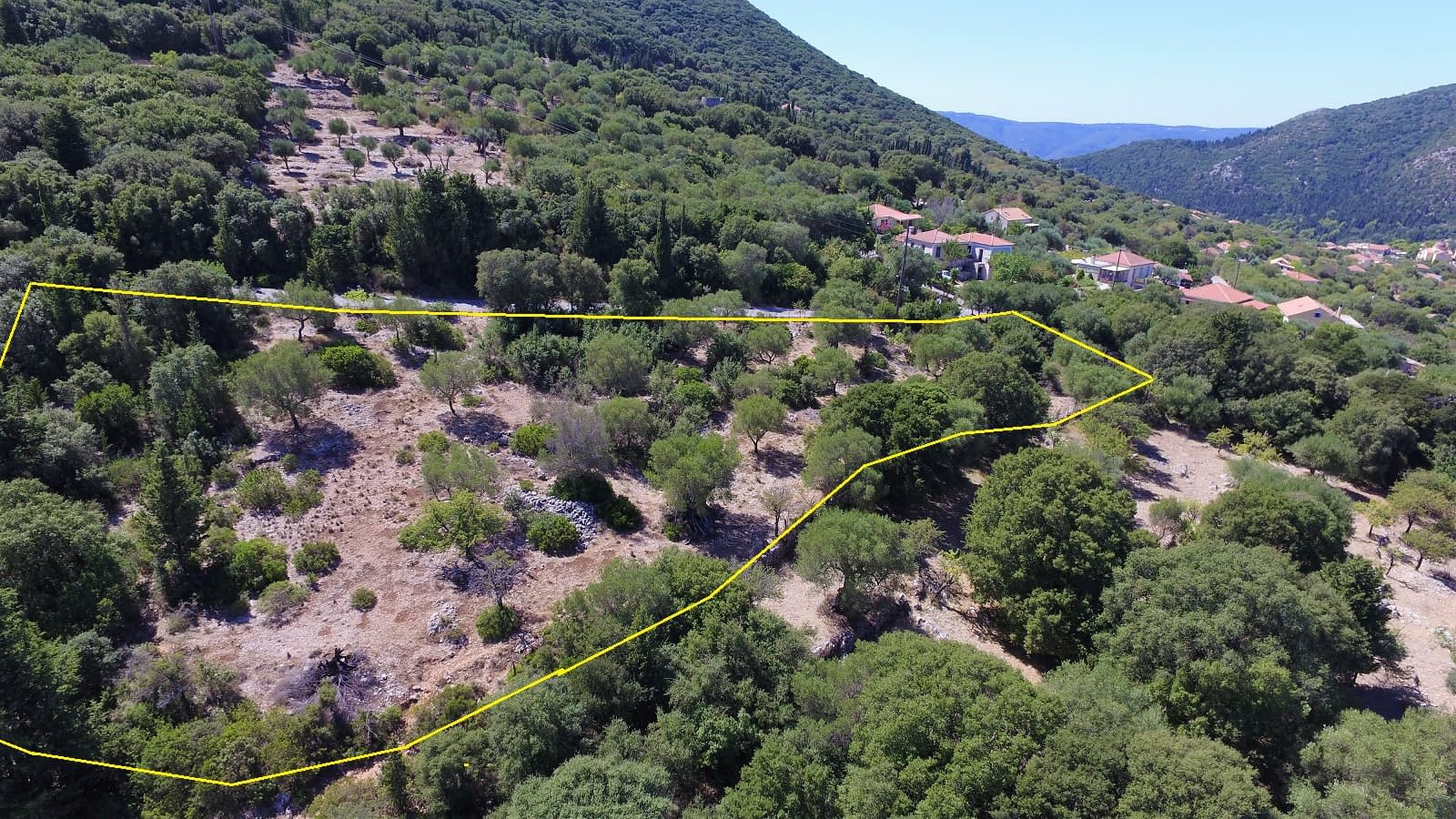 Aerial landscape view from land for sale in Ithaca Greece Stavros