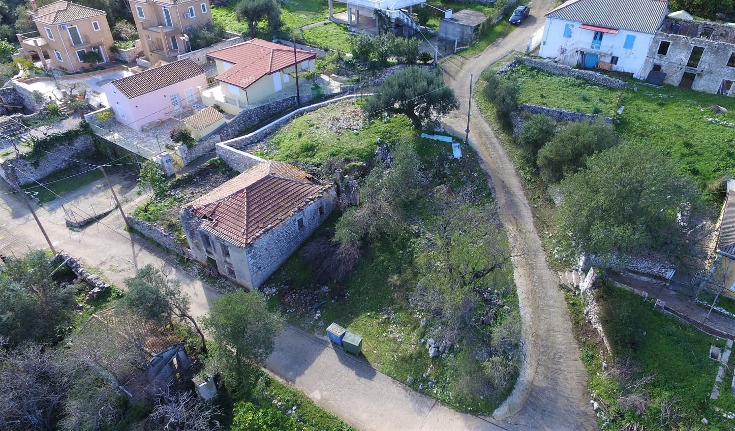Aerial view of land for sale Ithaca Greece, Kolleri