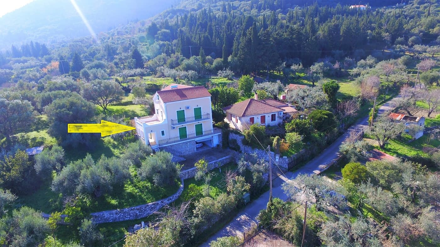 Aerial view of Afales Villa to rent MV Properties Ithaca Greece