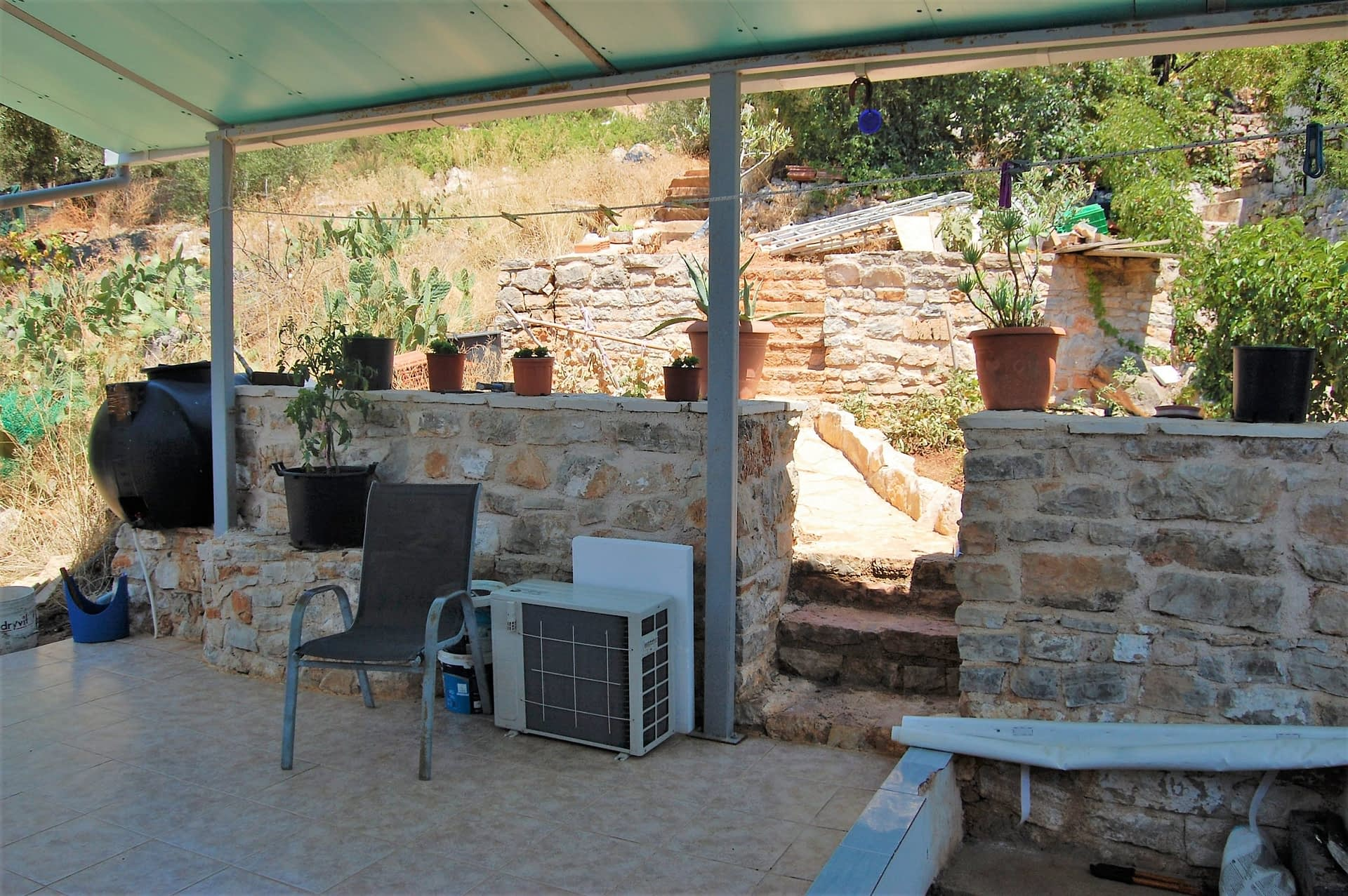 Exterior and terrace of house for sale in Ithaca Greece Vathi