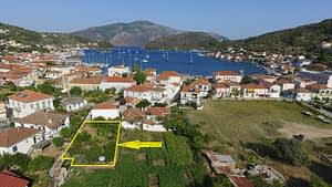 Aerial and border of land for sale in Ithaca Greece, Vathi