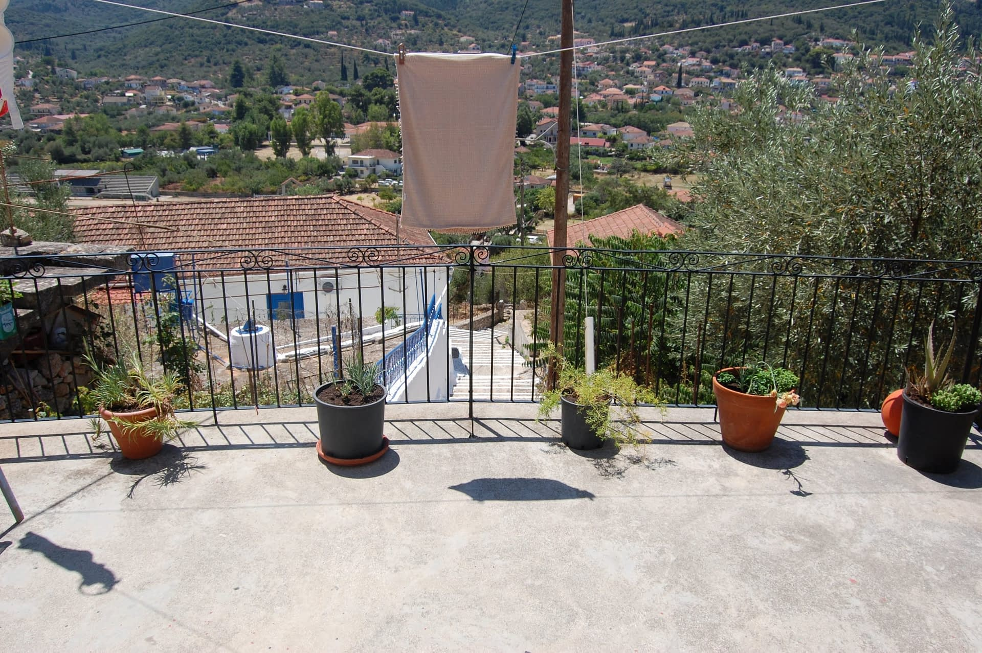 Landscape and terrace of property for sale in Ithaca Greece Vathi