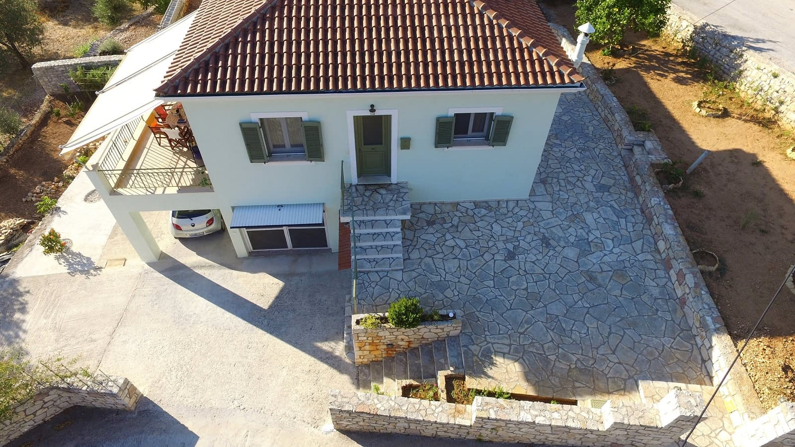 Aerial view of house for sale on Ithaca Greece Vathi