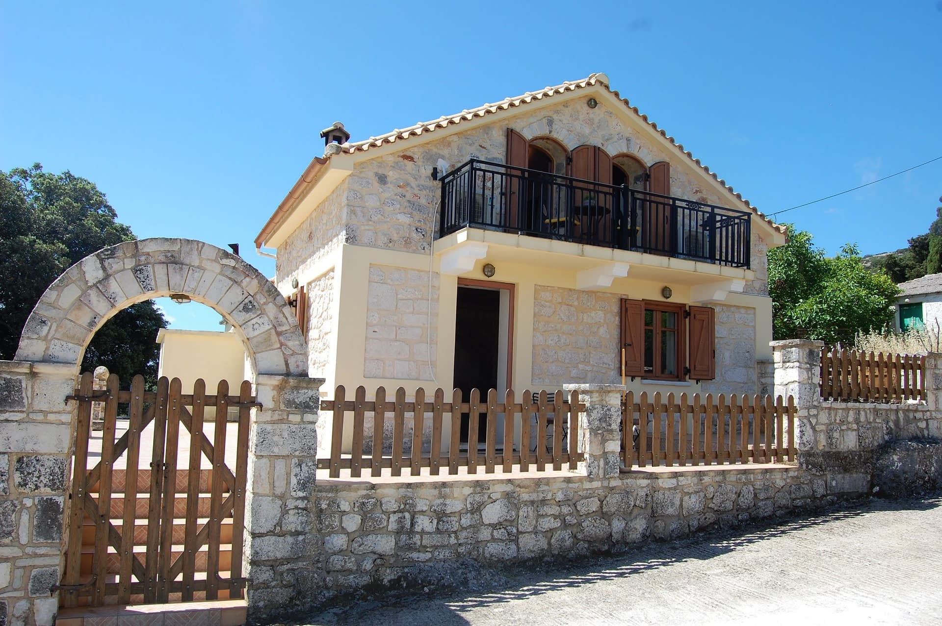 Front entrance of stone house for rent Ithaca Greece