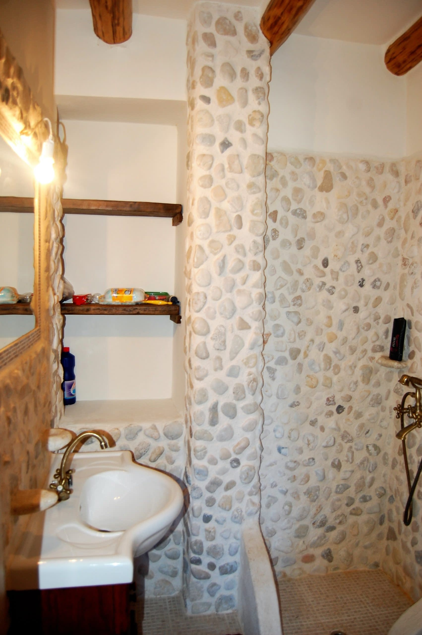 Decorative bathroom of stone house for rent Ithaca Greece
