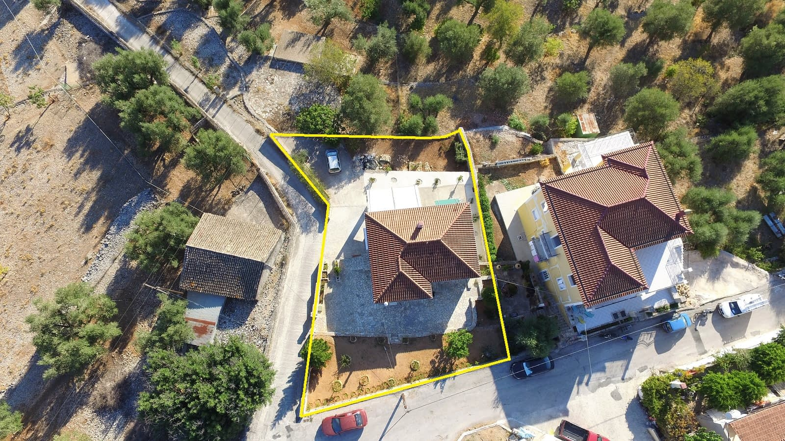Aerial view and borders of house for sale on Ithaca Greece Vathi