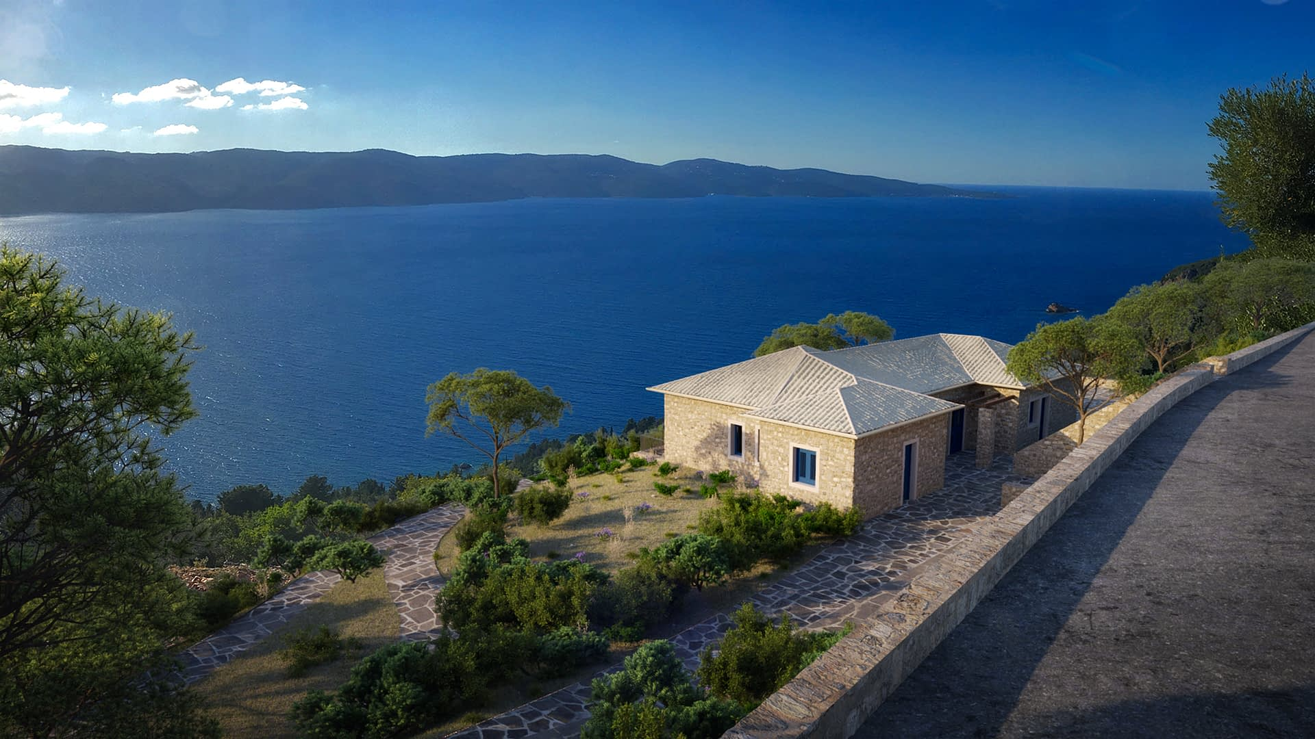Digital image of house for sale in Ithaca Greece Lefki