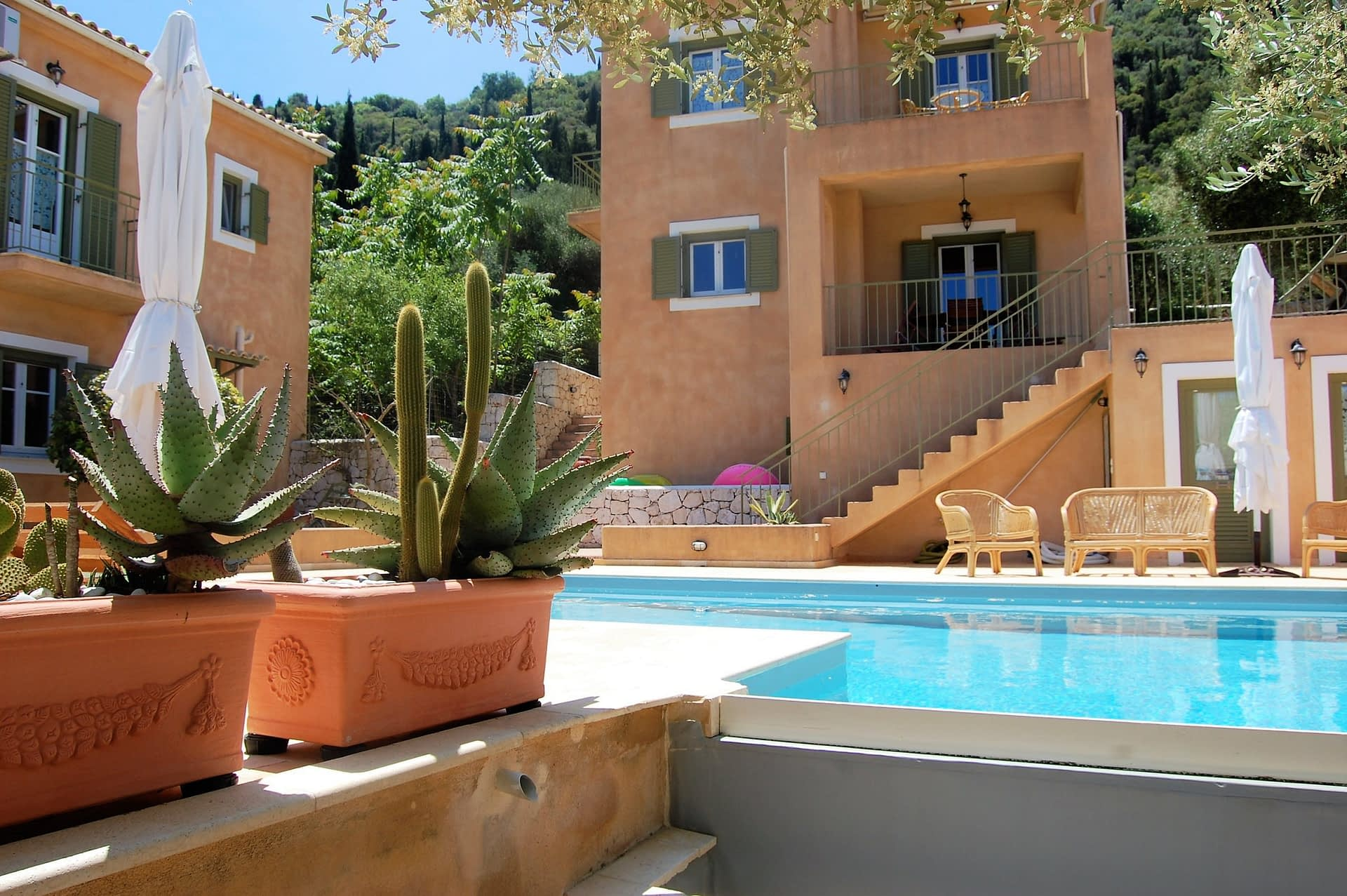 Swimming pool of Homer's View houses to rent MV Properties Ithaca Greece