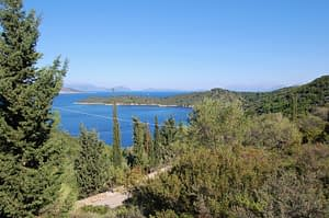 Sea view and mountain landscape of land for sale Ithaca Greece Vathi
