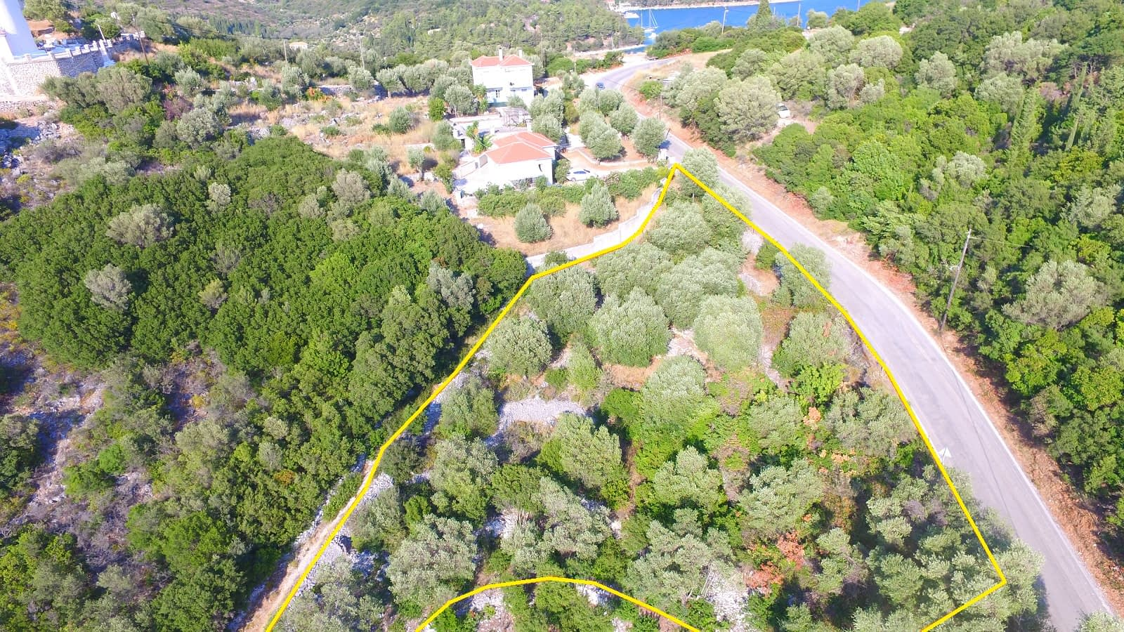 Aerial view of land for sale Ithaca Greece Dexa Vathi