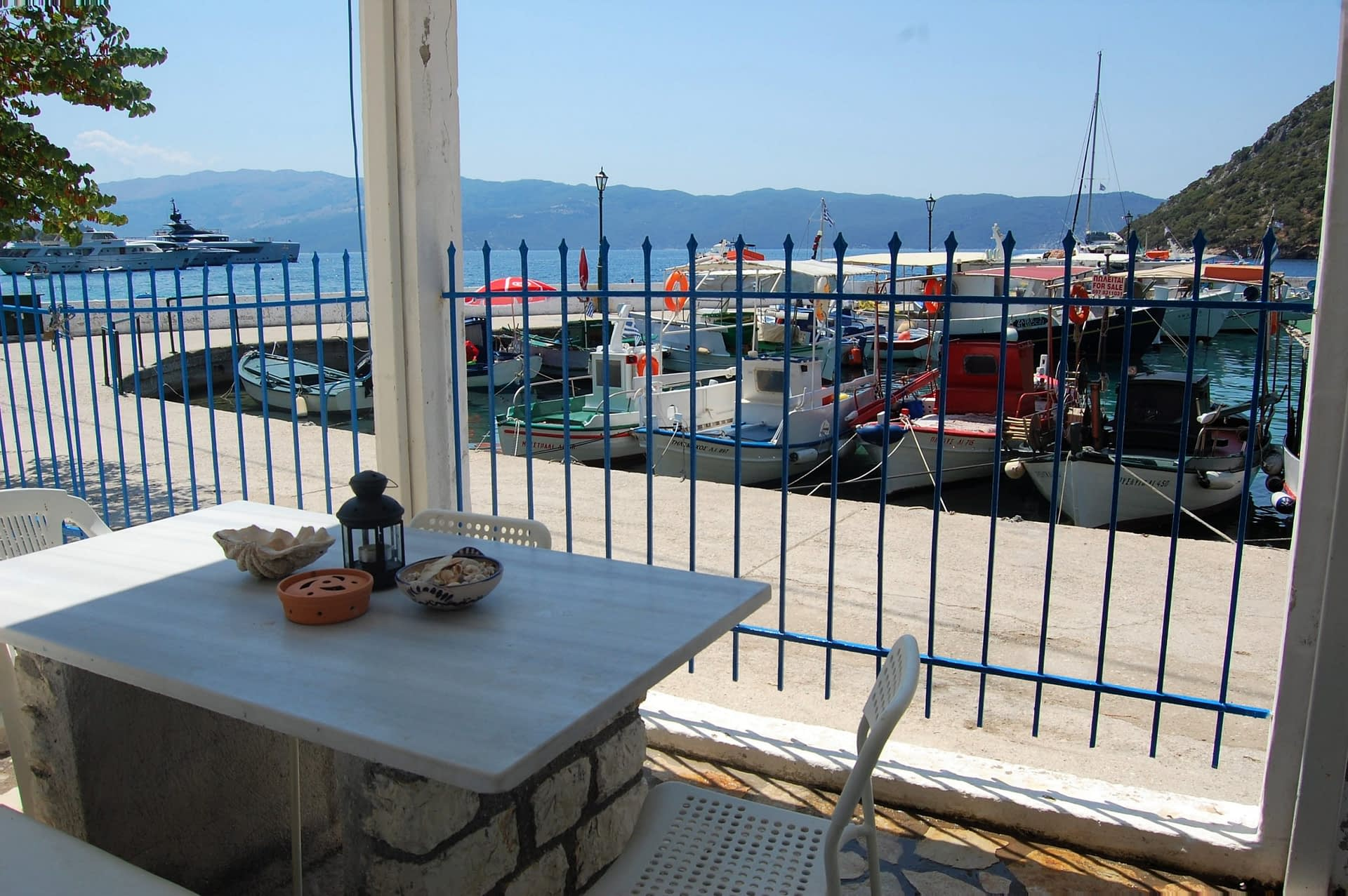 Balcony overlooking Polis bay area of house for rent in Ithaca Greece