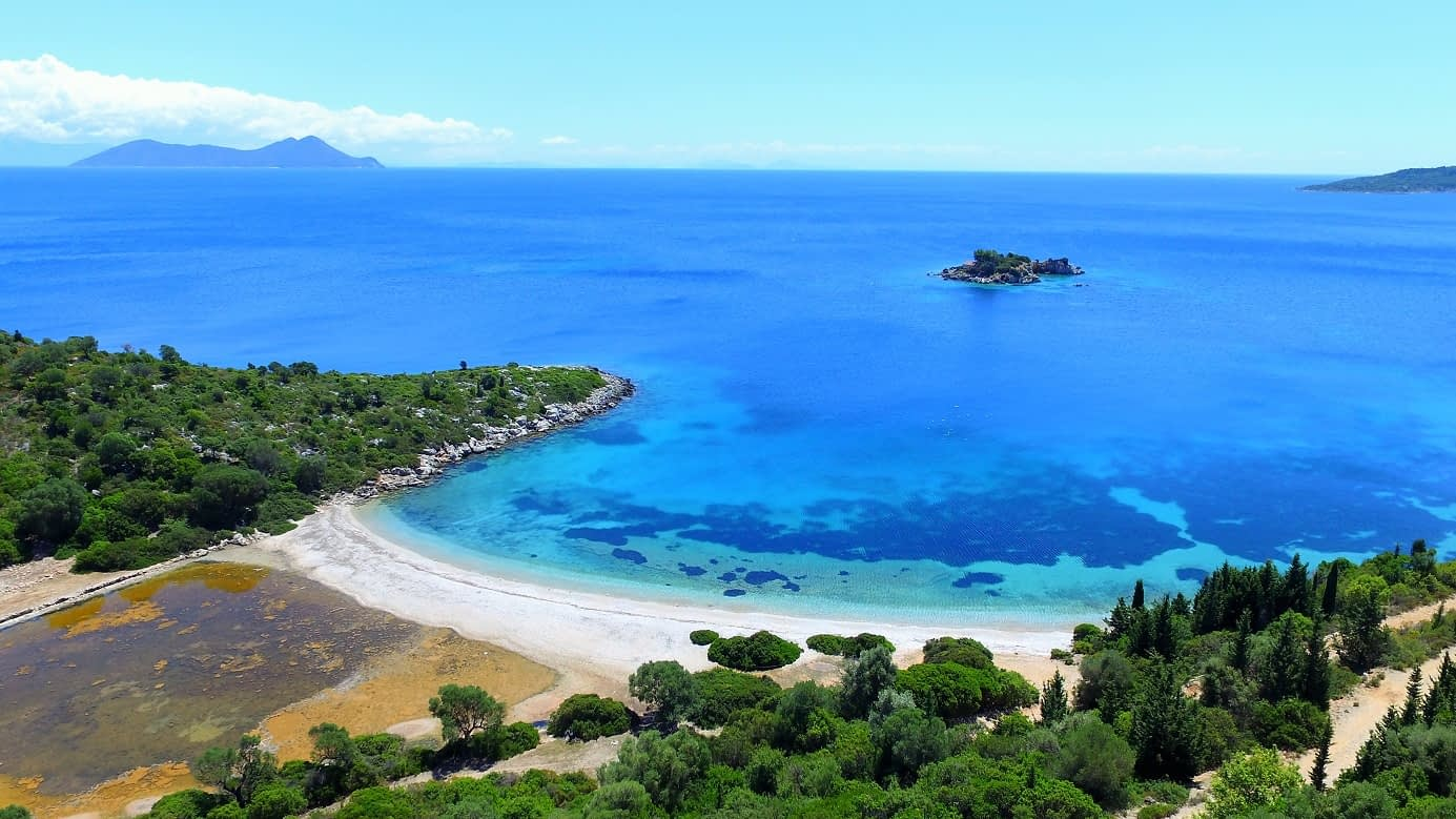 Aerial sea view of property for sale Ithaca Greece Marmakas