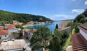 Aerial view of holiday apartment for rent on Ithaca Greece, Kioni
