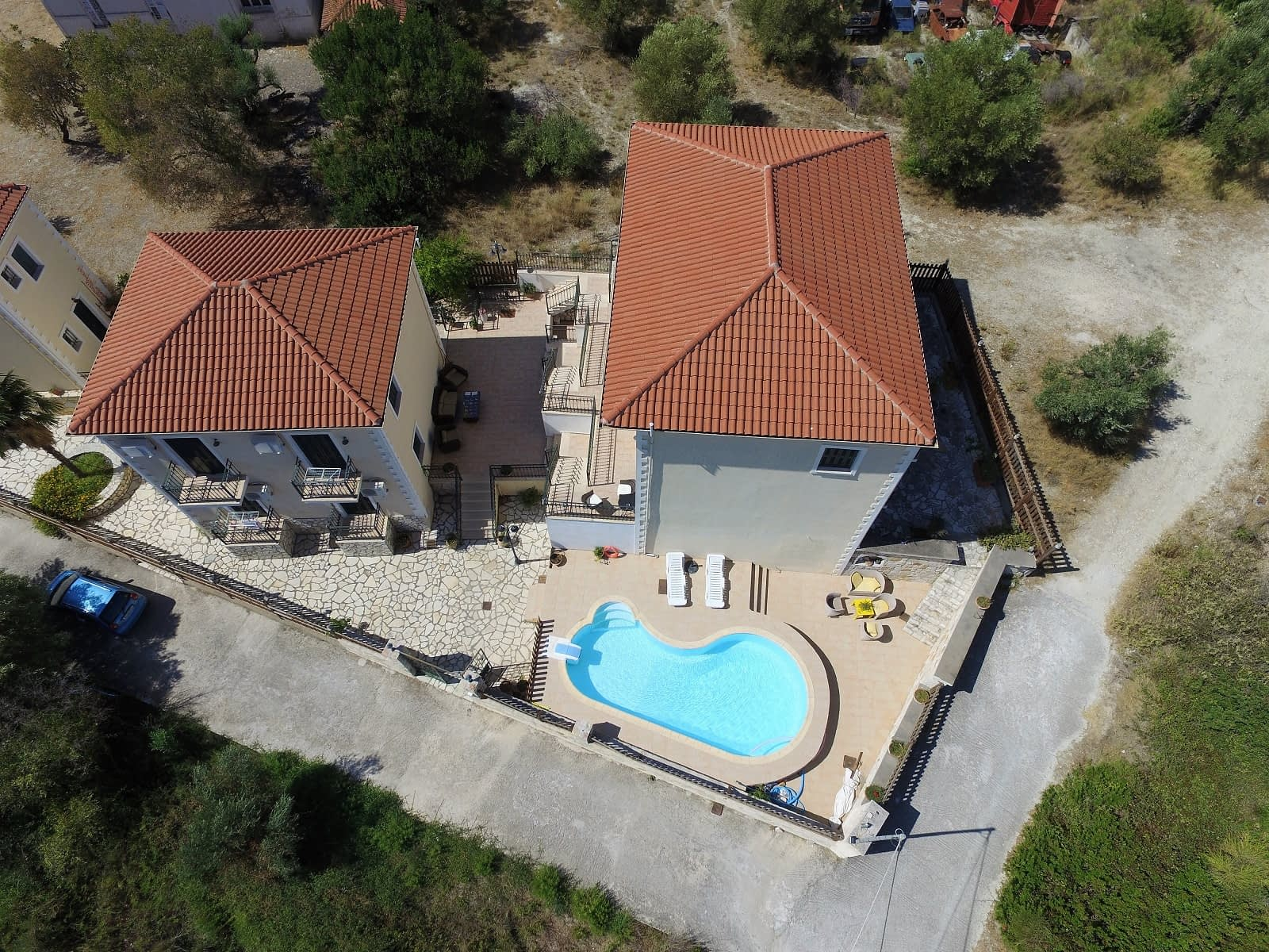 Aerial view of Iriana Village for rent in Ithaca Greece, Stavros