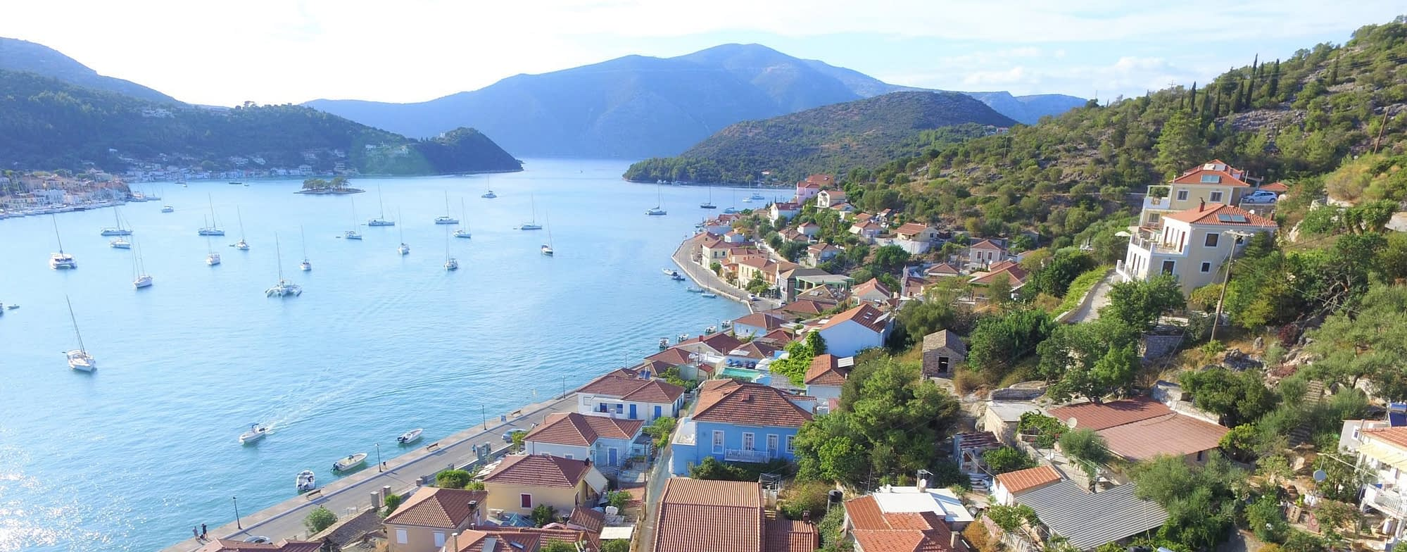 Aerial views of house for sale, Ithaca Greece, Vathi