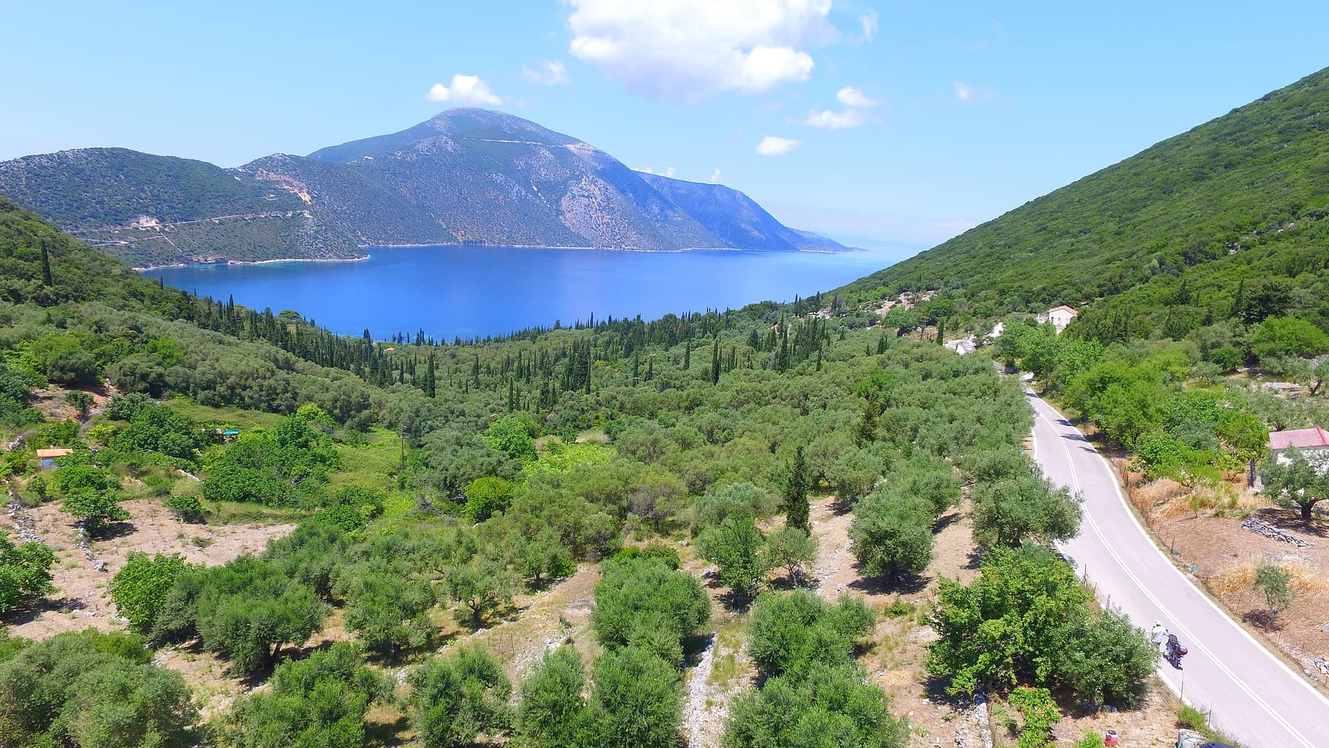 Aerial view of land for sale in Ithaca Greece