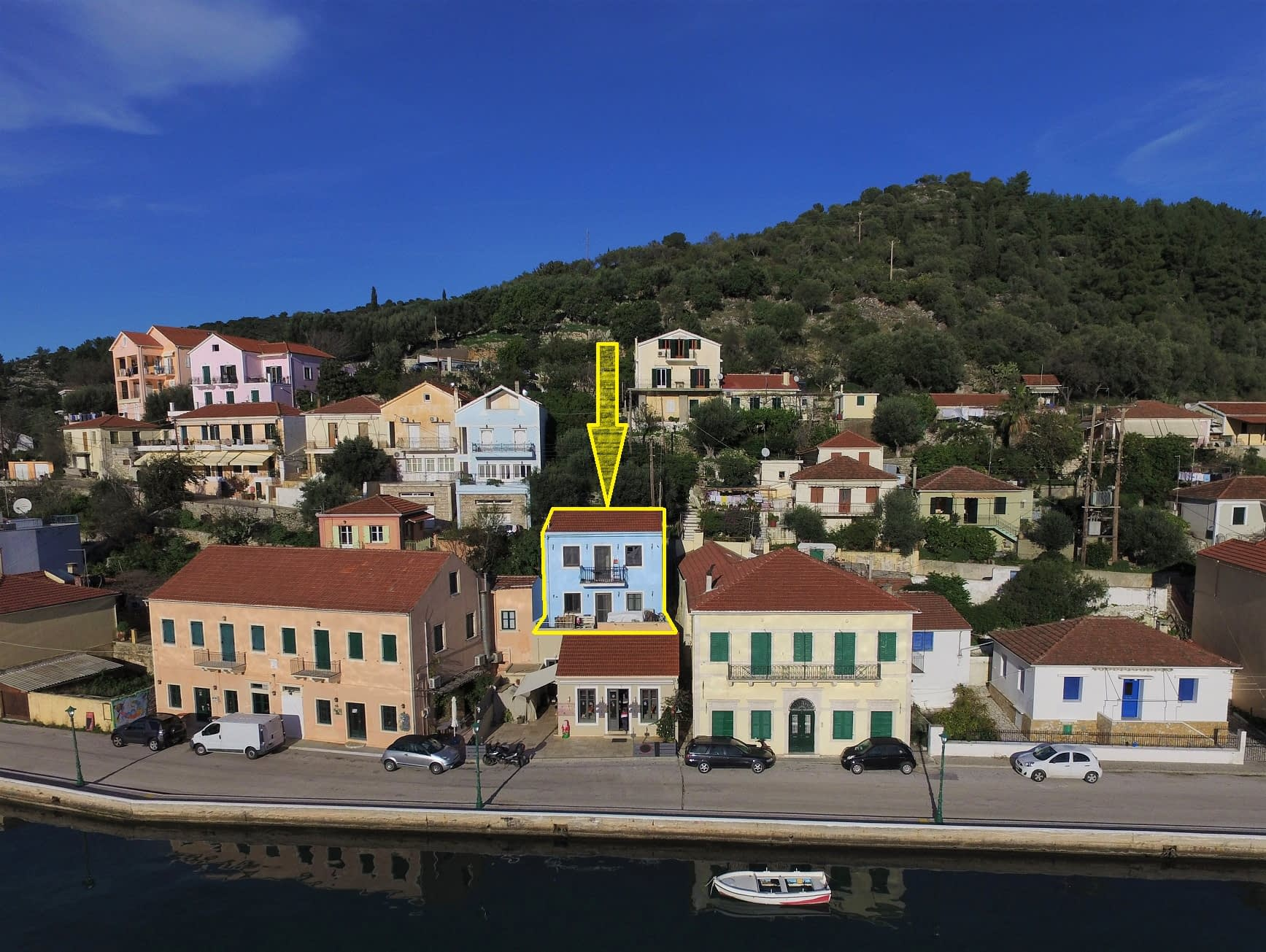 Harbour view from property for sale Ithaca Greece