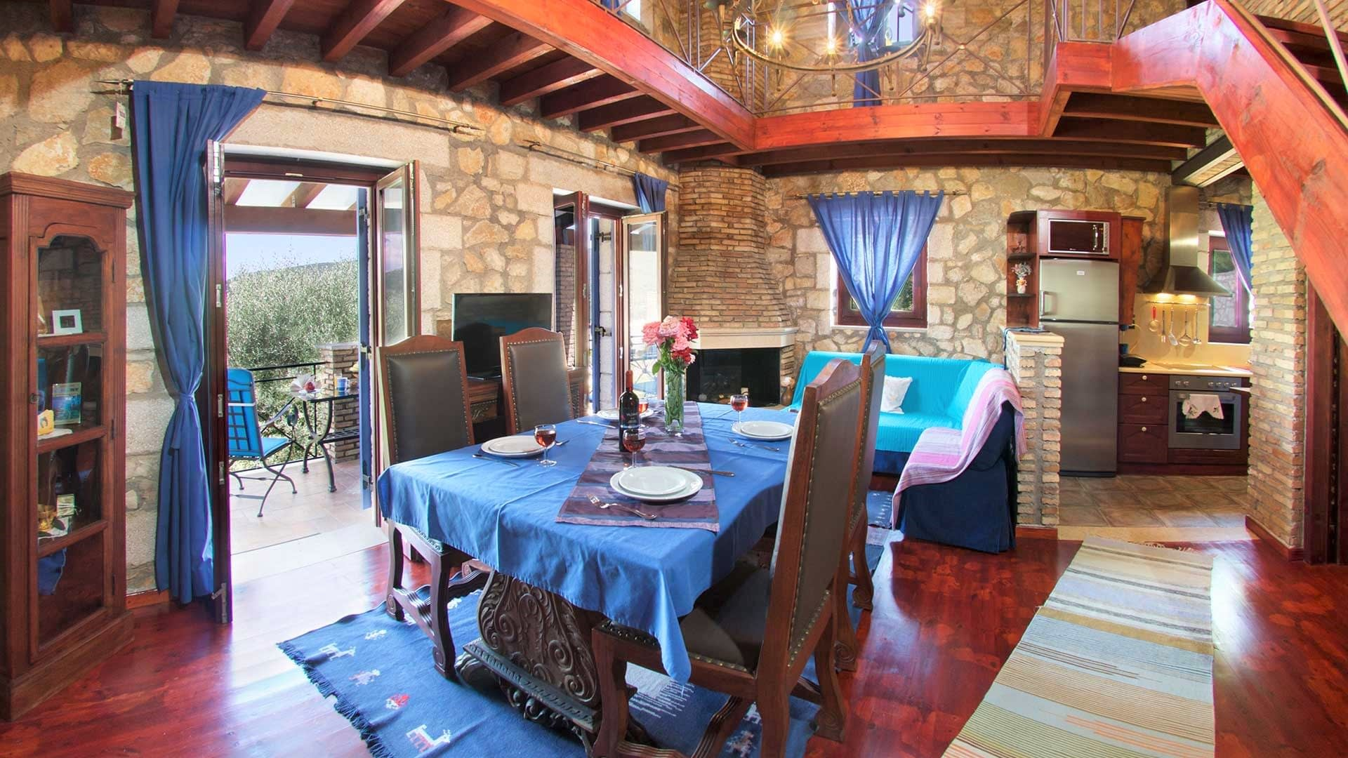 Dining room of stone villa for rent in Ithaca Greece, Pilikata