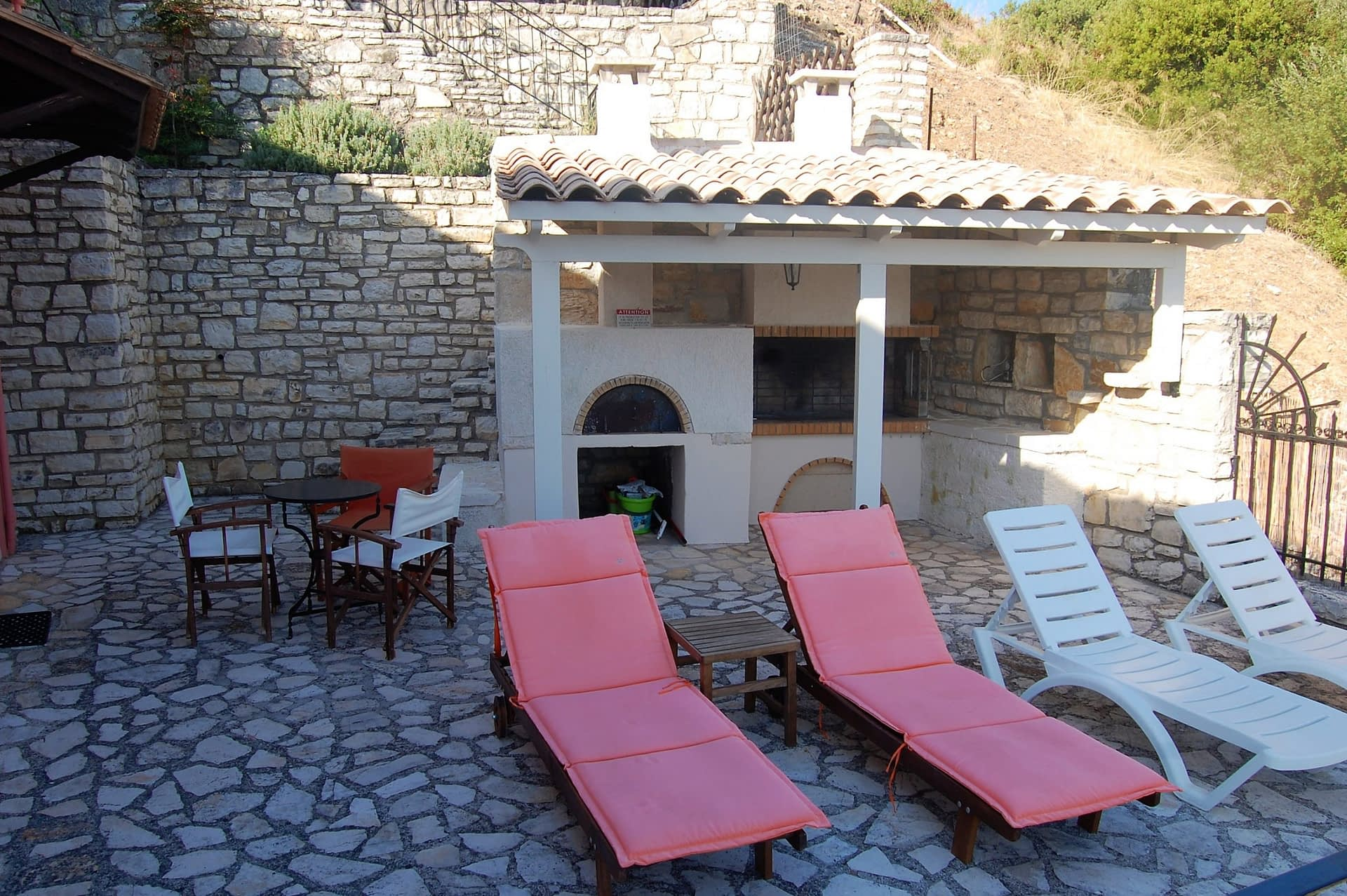 Stone terrace of house for sale Ithaca Greece, Kioni