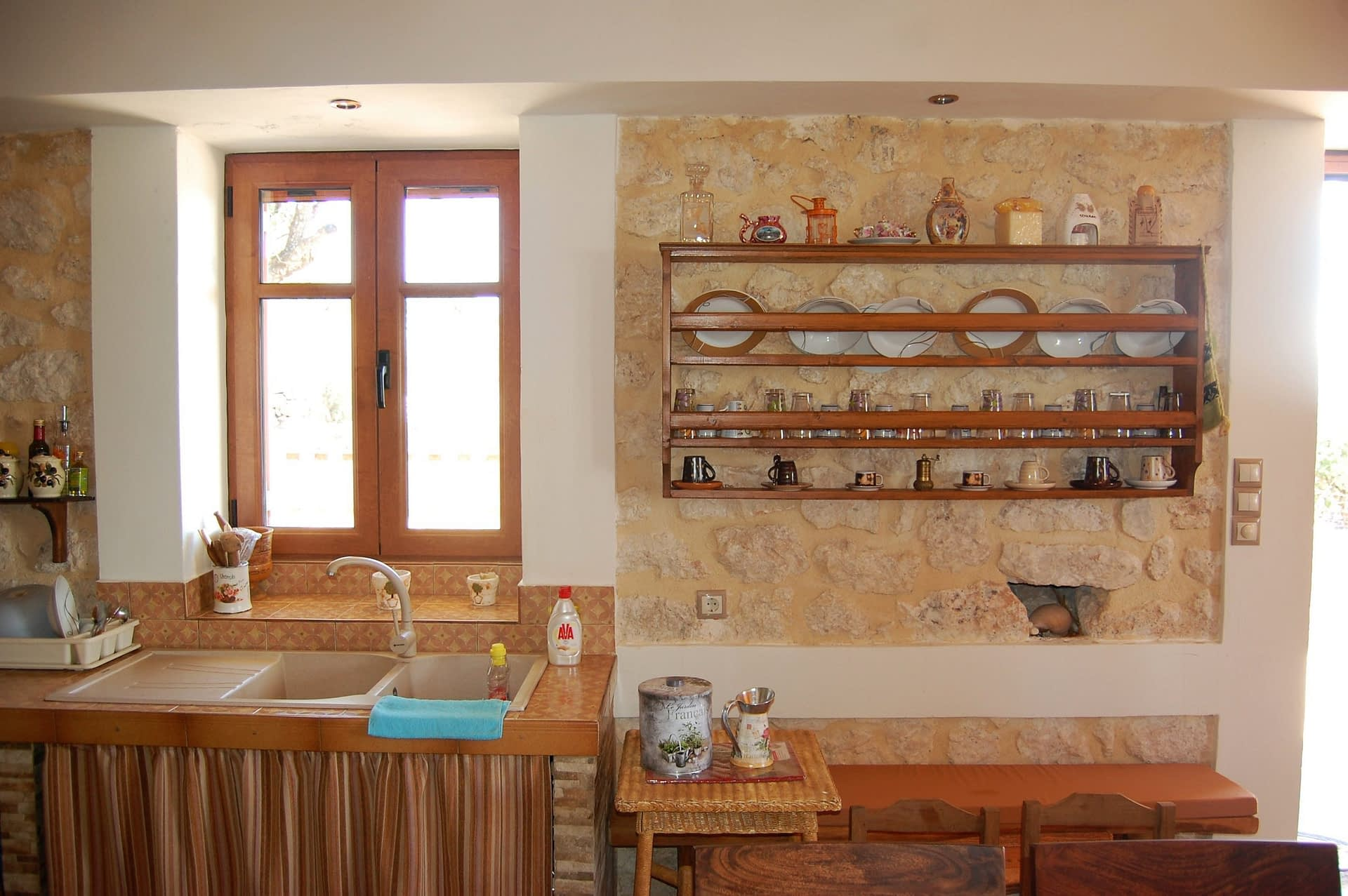 Kitchen of stone house for rent Ithaca Greece