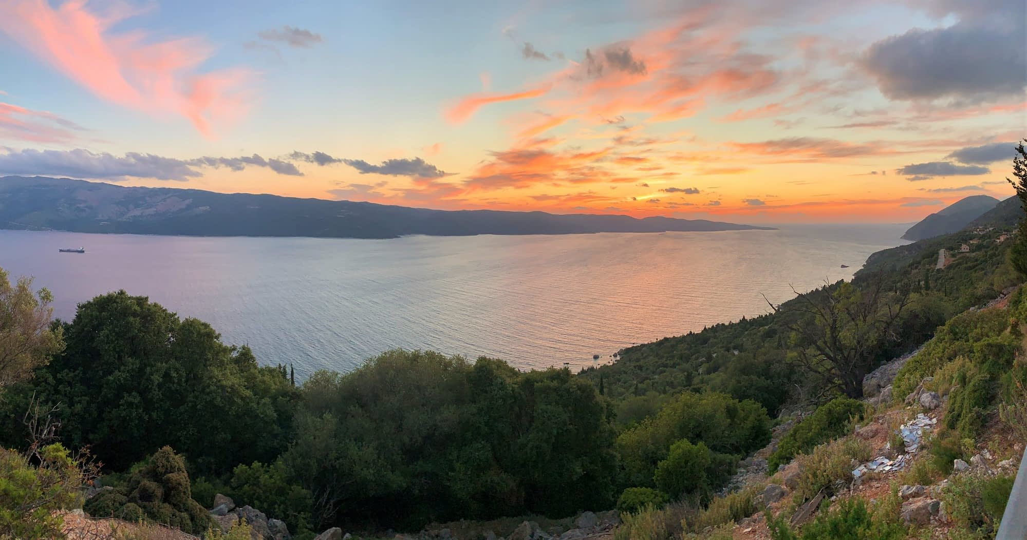 Sunset over the west coast of Ithaca Greece