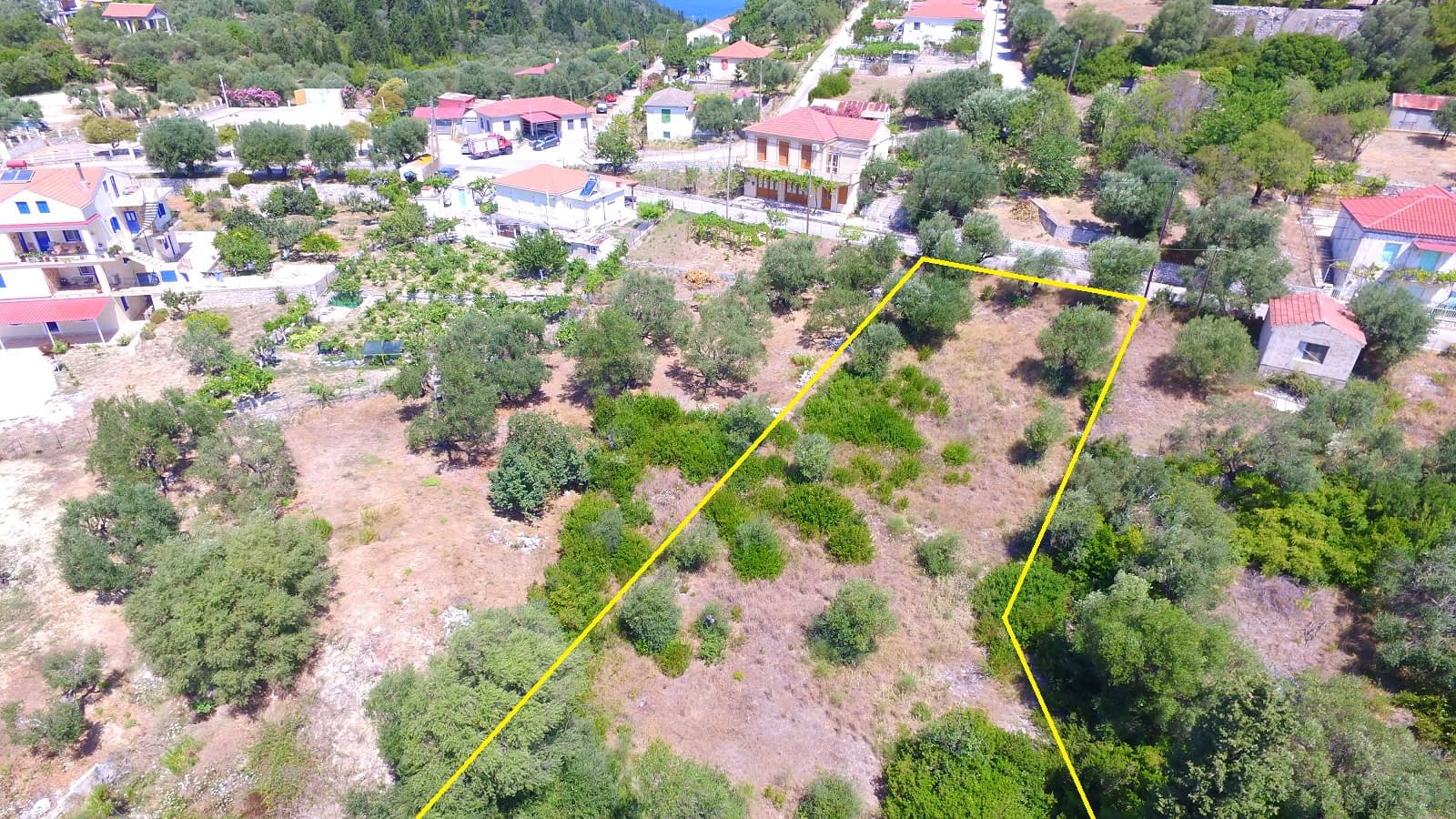 Aerial landscape of property for sale in Ithaca Greece Platrithya