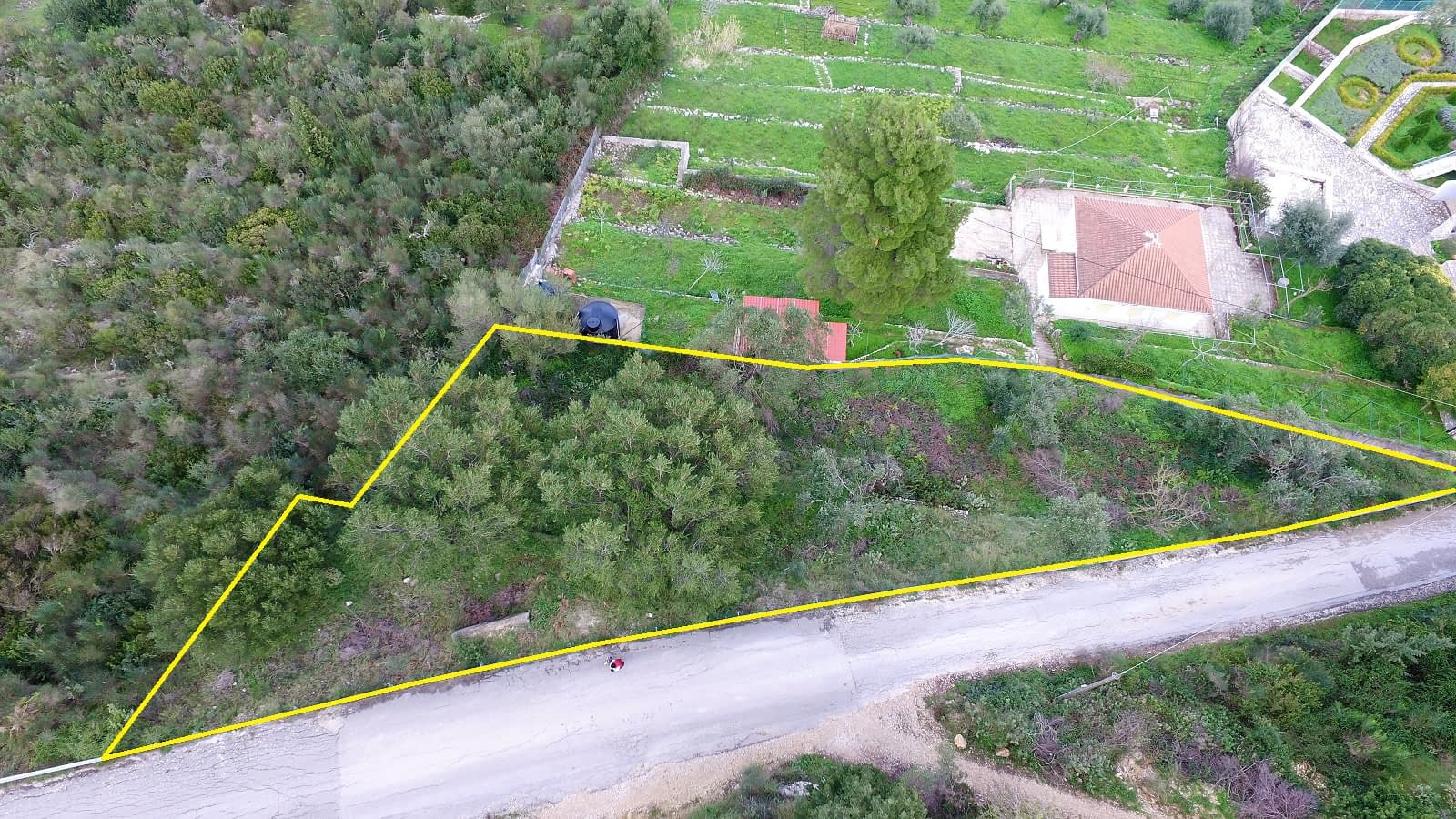 Aerial view and border of land for sale Ithaca Greece, Exoghi