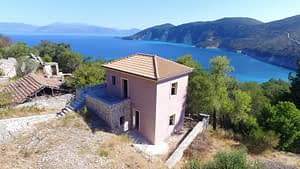 Aerial view of house for sale in Ithaca Greece, Kolleri