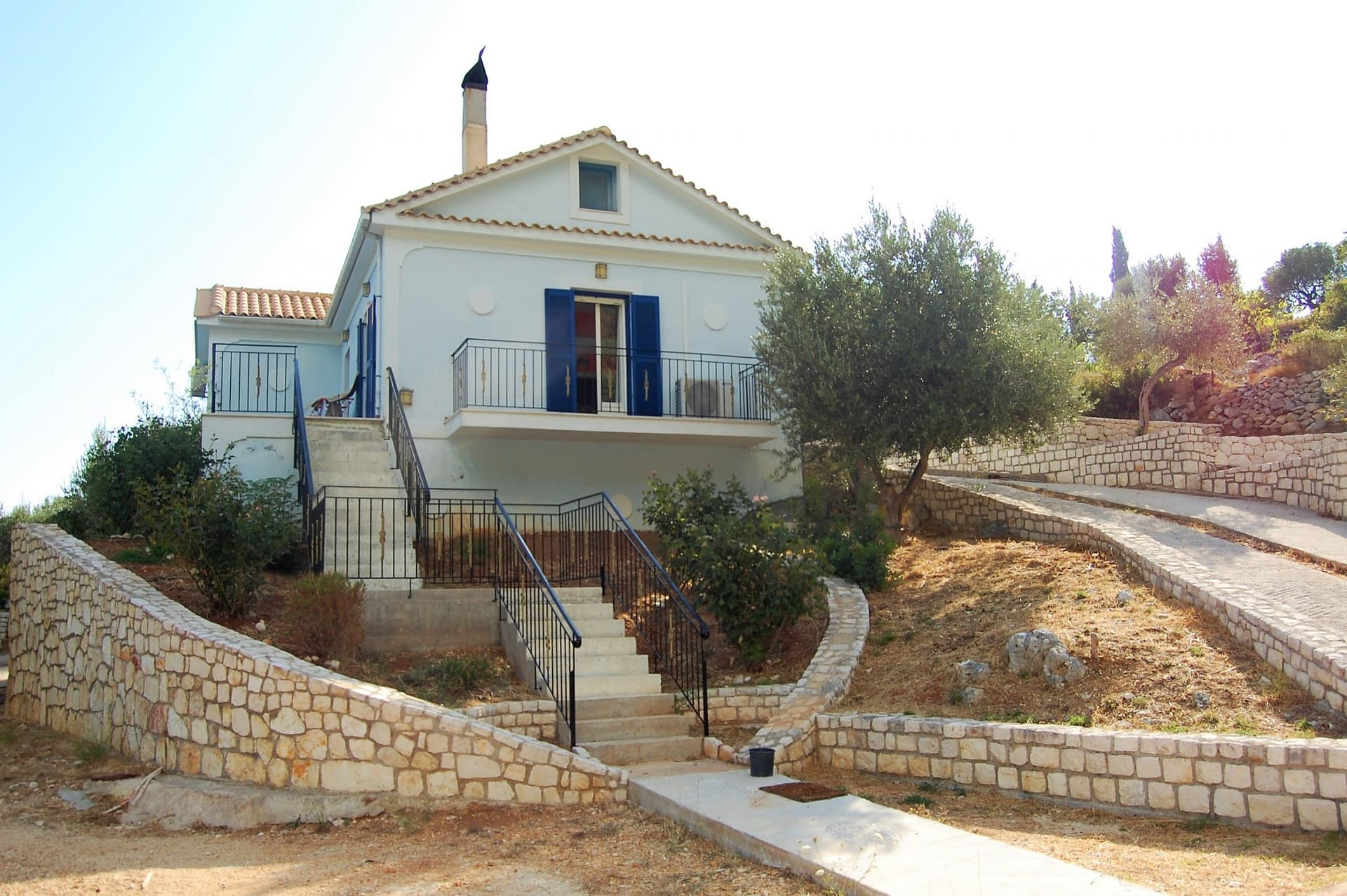Front entrance with terraced levels of property for sale in Ithaca Greece Vathi