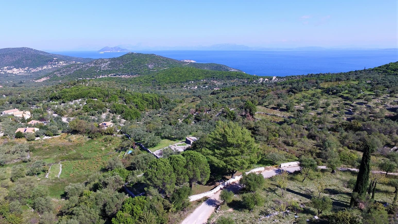 Aerial view of land for sale Ithaca Greece Perachori