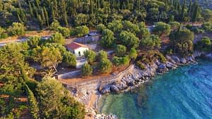 Aerial Landscape and sea view of coastal house for sale in Ithaca Greece Vathi