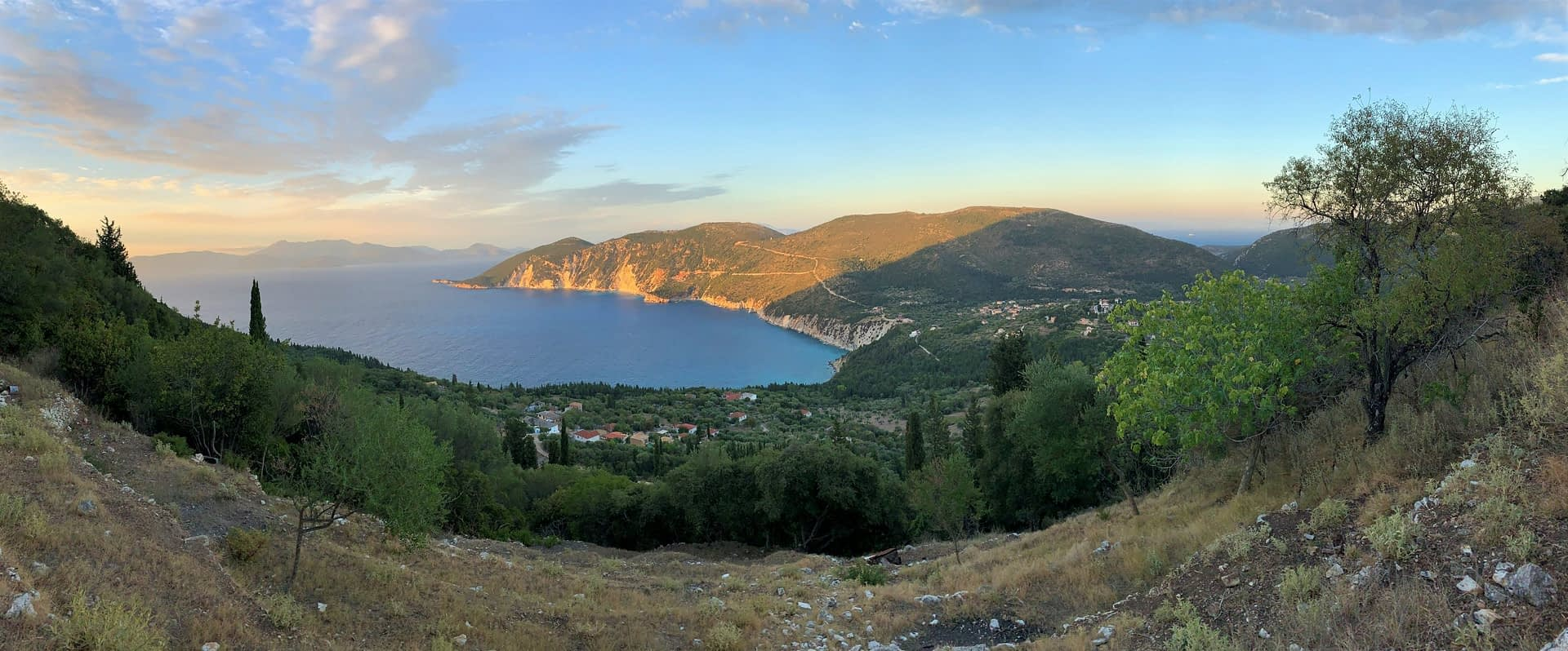 Landscape and sea view from land for sale in Ithaca Greece, Exoghi