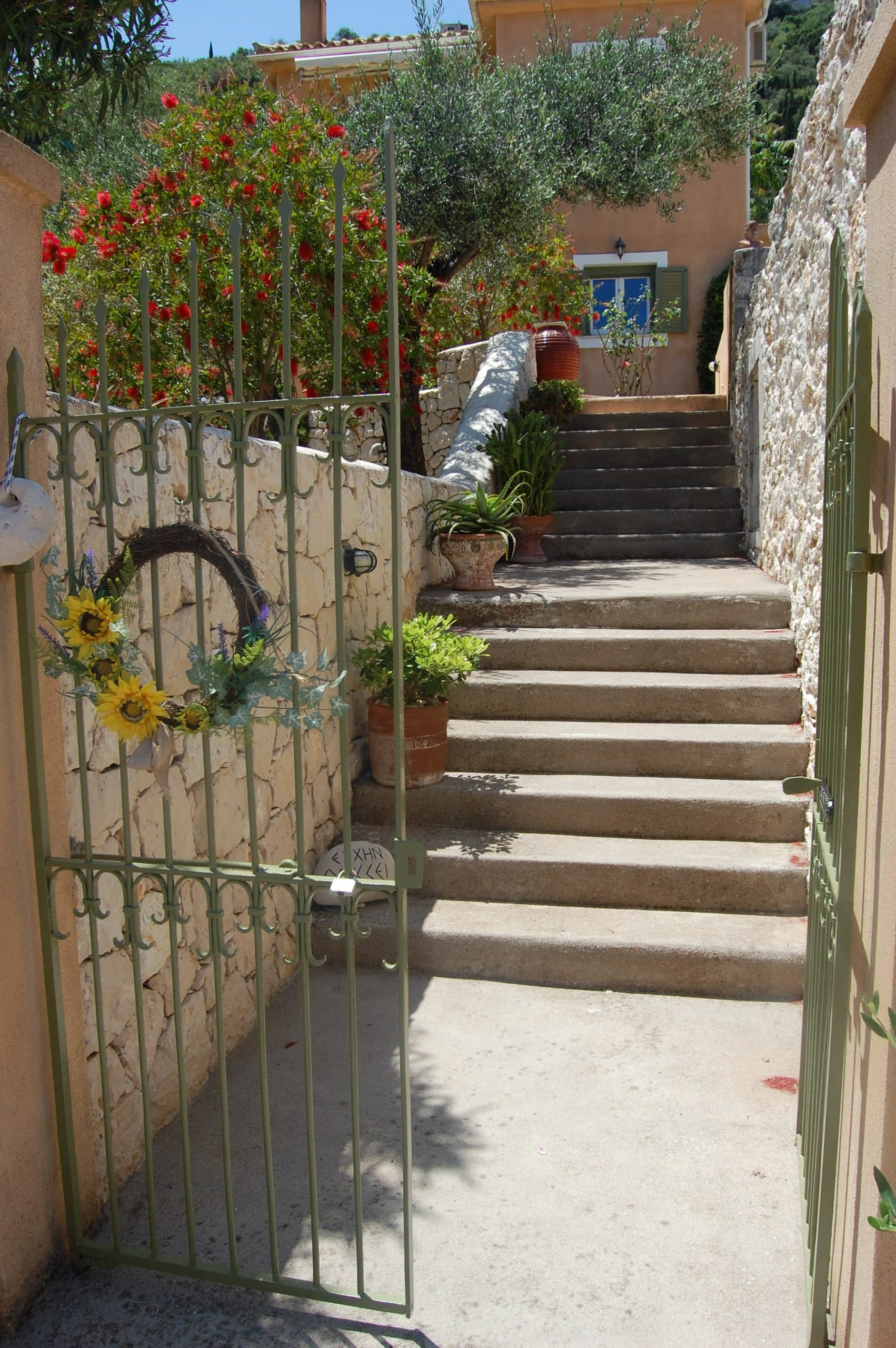 Entrance of Homer's View houses to rent MV Properties Ithaca Greece
