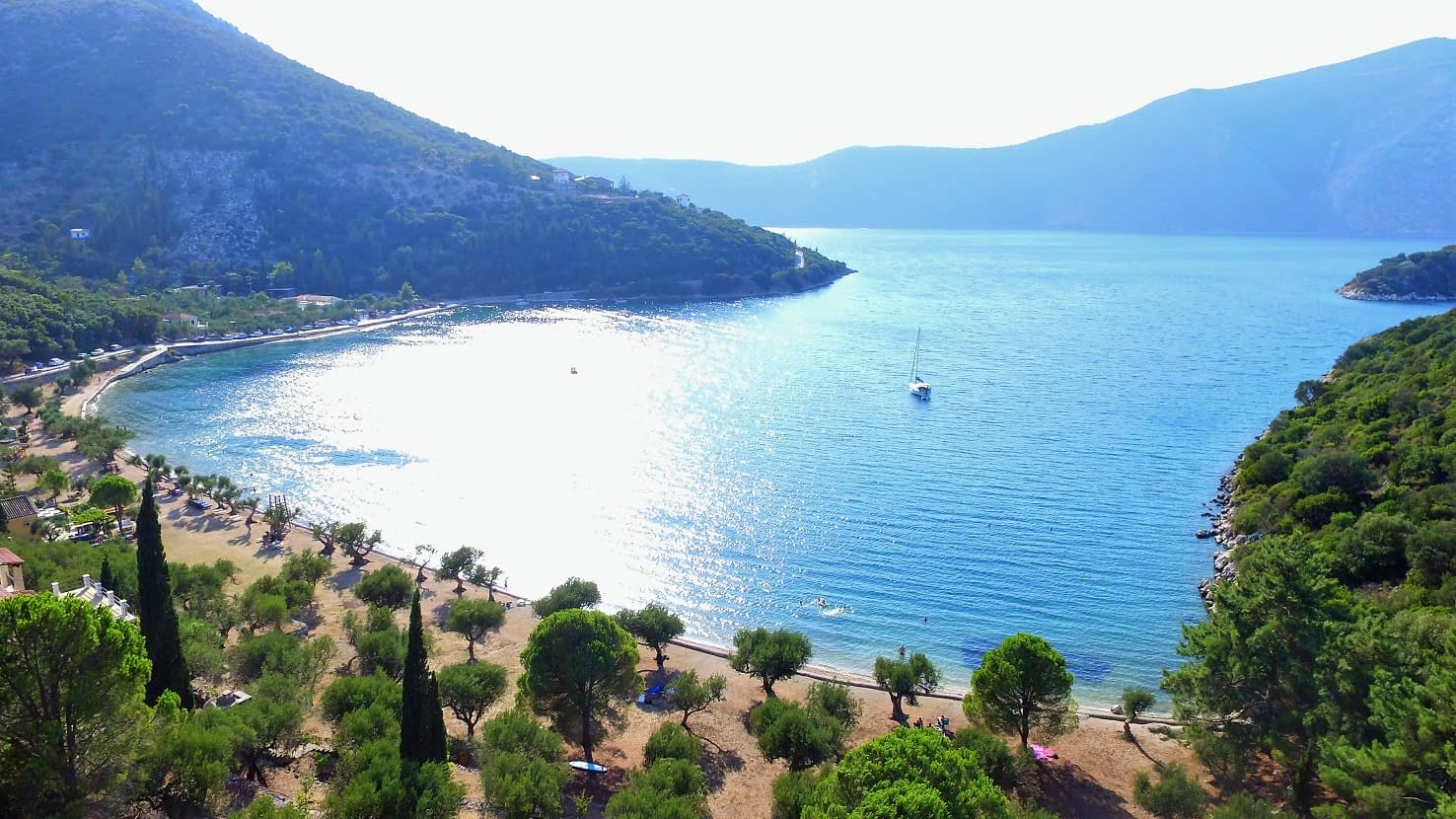Aerial and sea view of land for sale Ithaca Greece Dexa Vathi