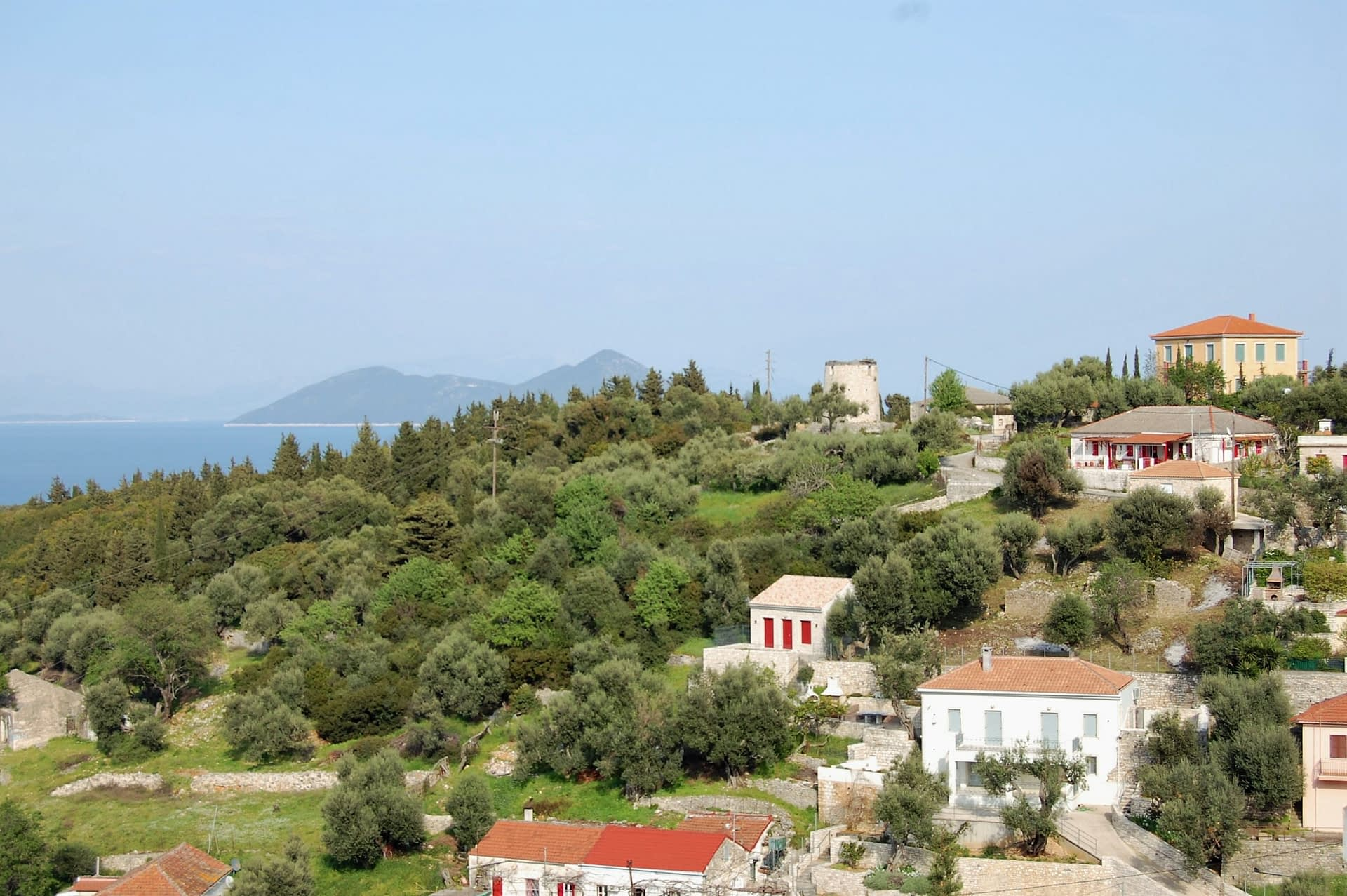 Aerial view of house for sale in Ithaca Greece