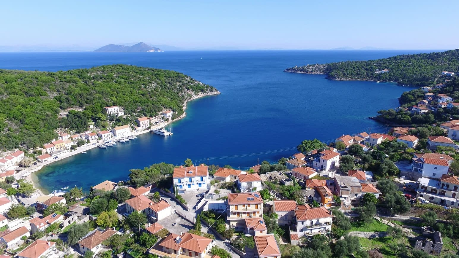 Aerial sea view of Kioni bay Ithaca Greece