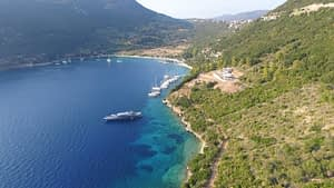 Aerial views of land for sale Ithaca Greece, Stavros