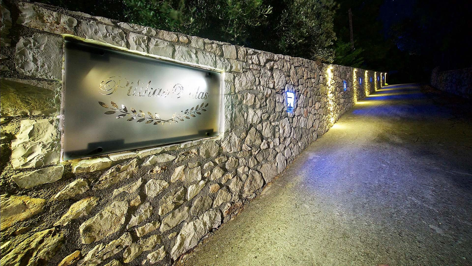 Stone entrance of stone villa for rent in Ithaca Greece, Pilikata