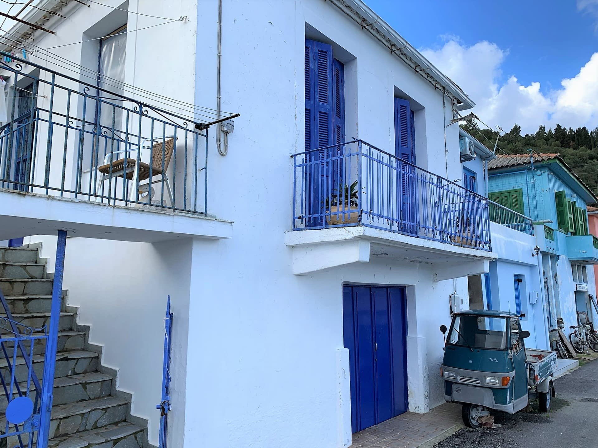 Exterior facade of house for sale in Ithaca Greece, Vathi