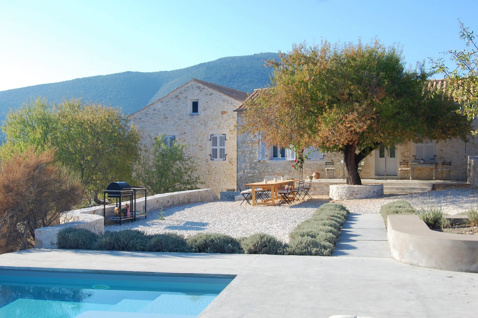 Salt water pool area and entertainment area at Villa Kalos for rent, Ithaca Greece Lahos
