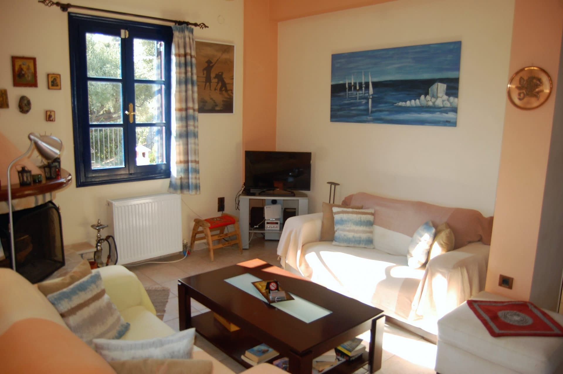 Interior living room of house for sale Ithaca Greece, Kioni