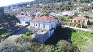 aerial view of the house for sale in Ithaca Greece Anogi