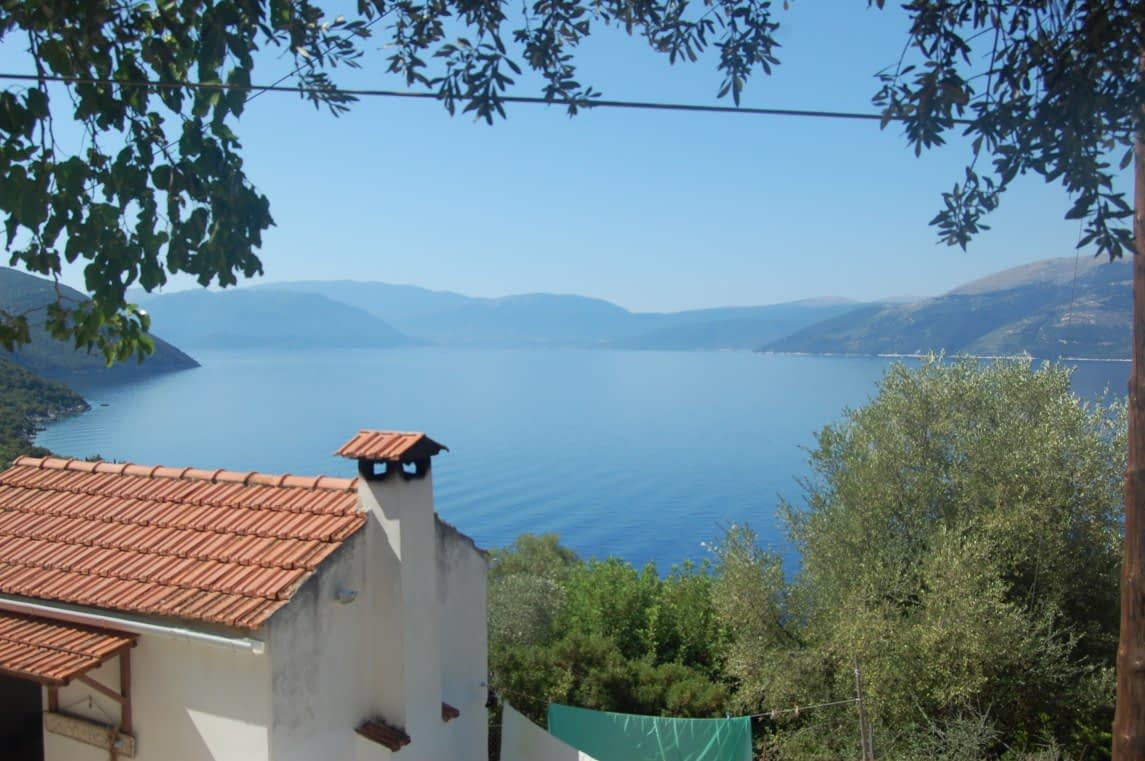 Sunset and sea view from house for sale Ithaca Greece in Ag Ioannis