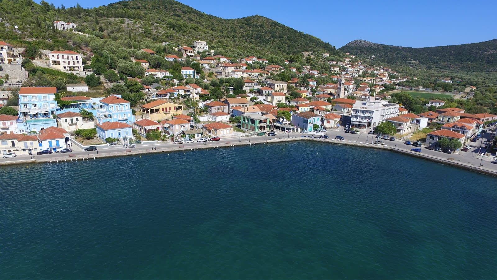 Aerial view of boutique hotel for sale in Ithaca Greece Vathi