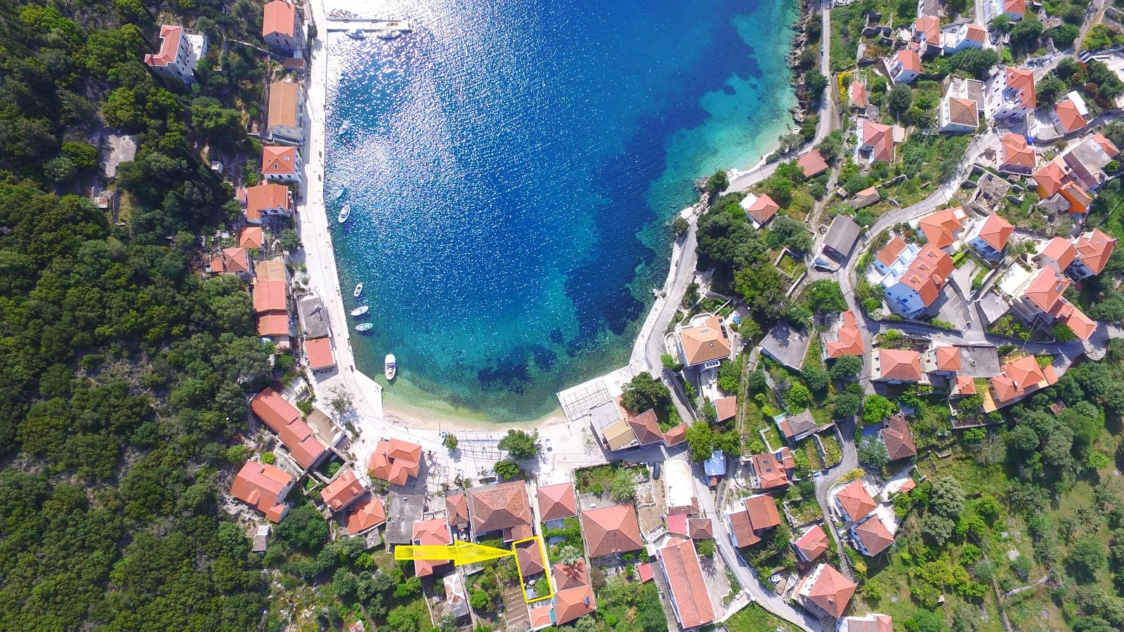 Aerial view of house for sale in Ithaca Greece Kioni