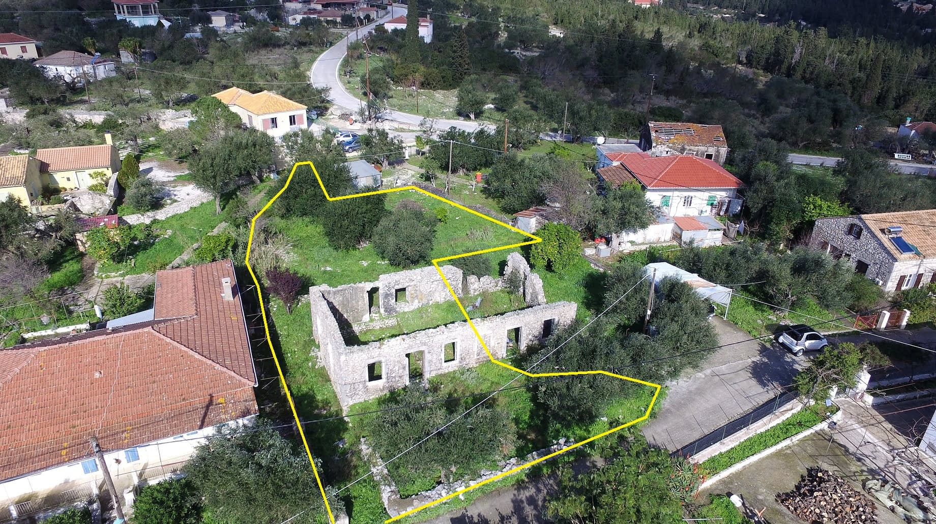 Aerial view and border of land for sale Ithaca Greece, Lahos