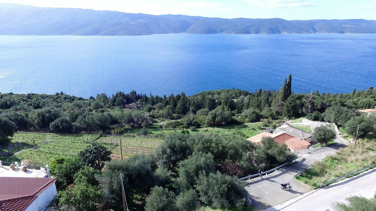 Sea view of house with ruin for sale in Ithaca Greece Lefki