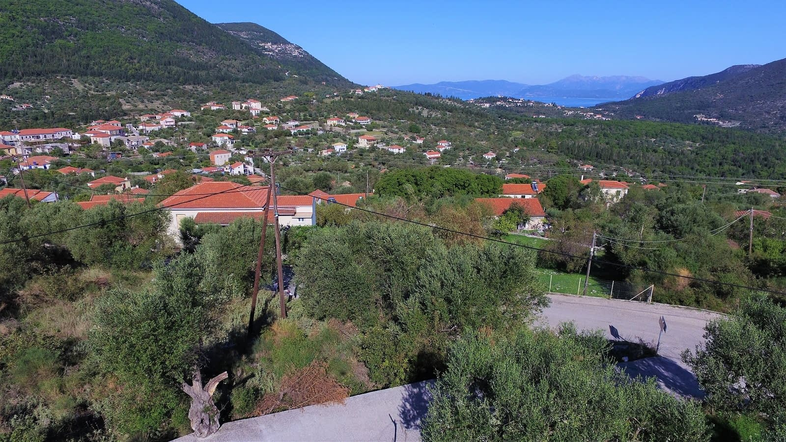 Aerial view of land for sale Ithaca Greece Stavros